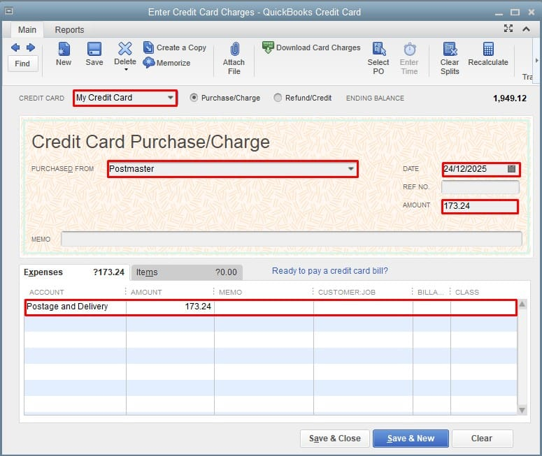 Recording a new credit card transaction in QuickBooks Desktop