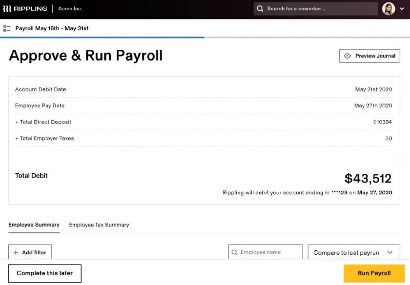 Screenshot of Rippling Approve and Run Payroll