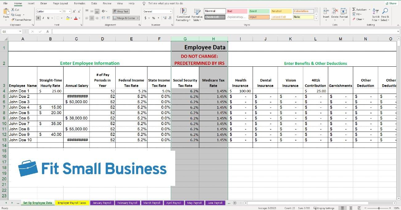 Screenshot of Set Up Employee Data