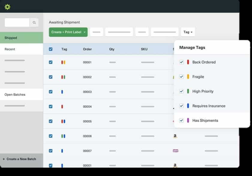 Screenshot of Shipstation Tagging System
