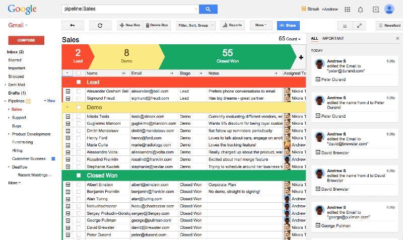 Streak integrated with Gmail