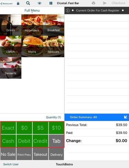 Screenshot of Touchbistro Fast Bar Screen