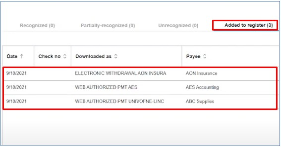 Transactions Entered Into the Account Register