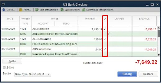 Updated Check Register Containing the Recently Imported Transaction