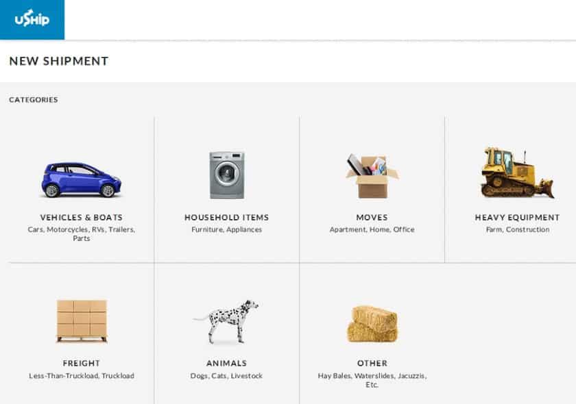 Screenshot of Uship Categories