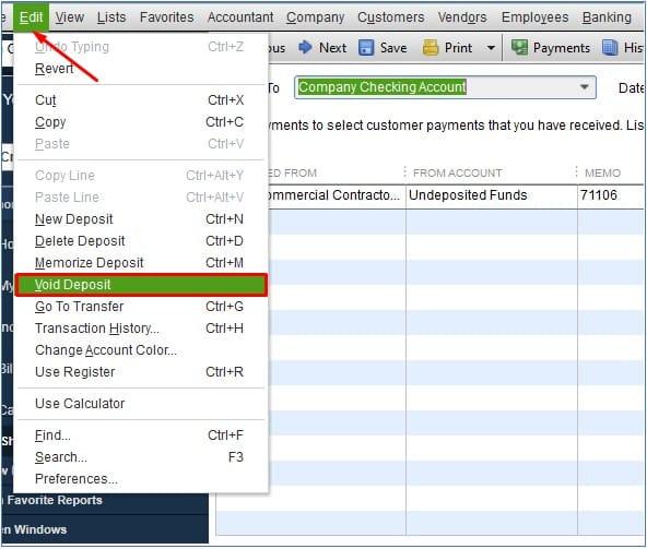 Void a Deposit in QuickBooks Desktop