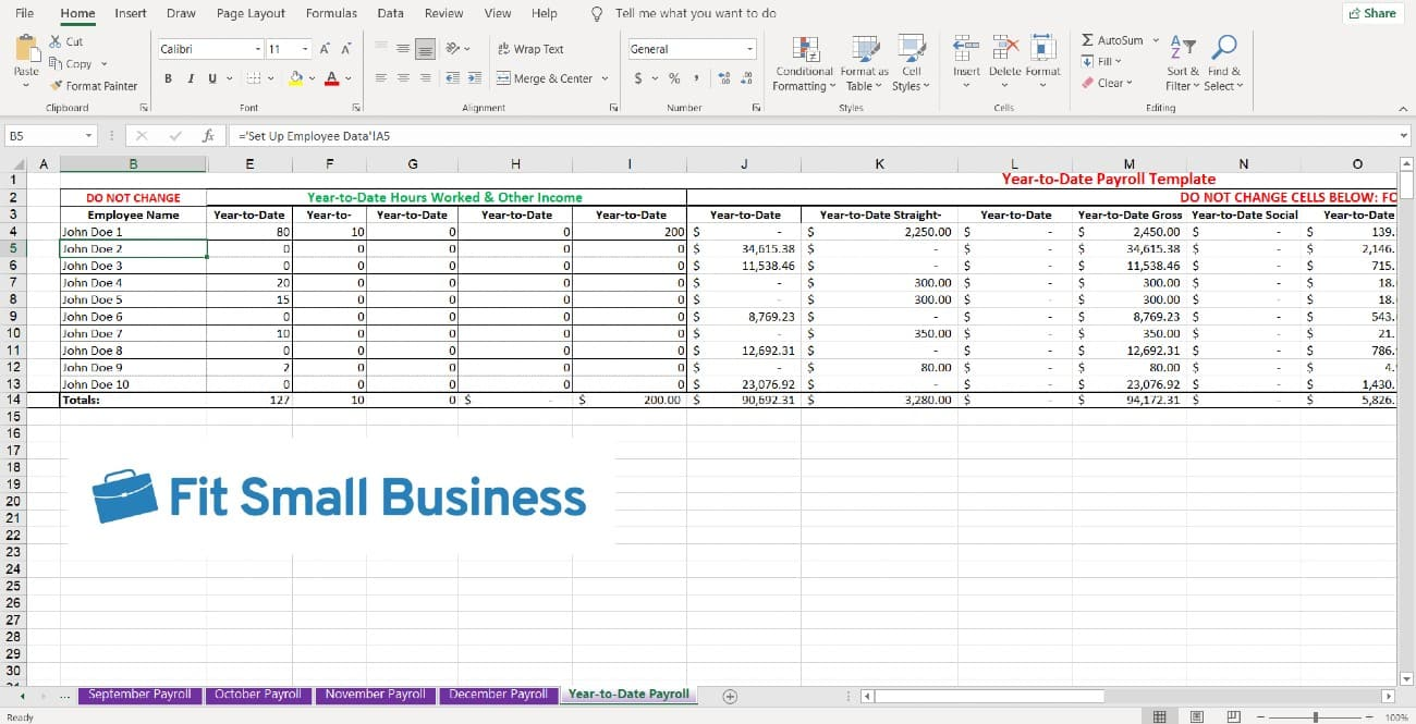 Screenshot of Year to Date Payroll Tab
