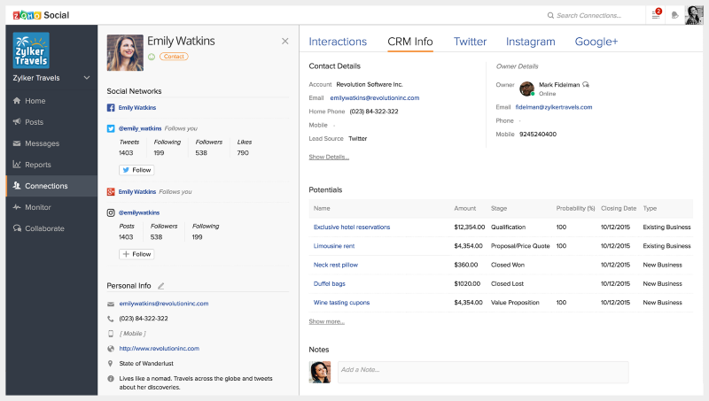 Zoho CRM shows communication touchpoints