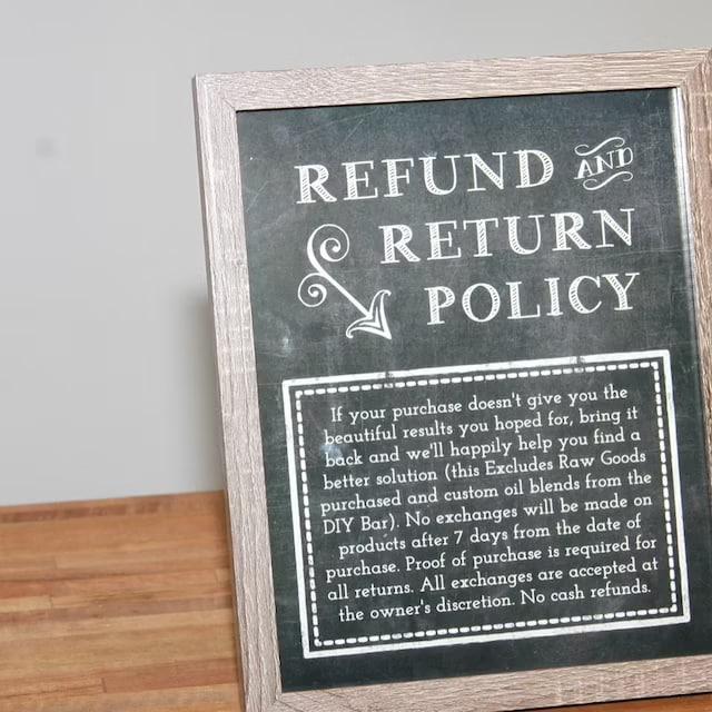 Screenshot of store return policy